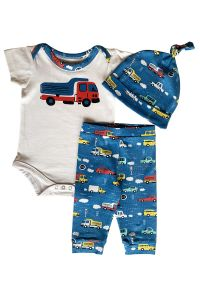 AnnLoren Baby Boys White Cars Trucks Bodysuit Pants Cap Layette 3 Pcs Set 3-18M