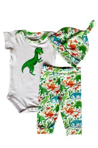 AnnLoren Baby Boys White Dinosaur Bodysuit Pants Cap Layette 3 Pcs Set 3-18M