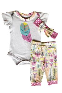 AnnLoren Baby Girls Cream Feather Bodysuit Pants Headband Layette 3Pcs Set 3-18M