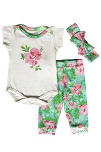 AnnLoren Baby Girls Cream Floral Bodysuit Pants Headband Layette 3Pcs Set 3-18M