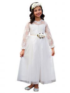 Big Girls White Bell Sleeve Layla Ankle Length Floral Sash Communion Dress 7