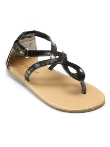 L'Amour Girls Black Hook-And-Loop Strap Swirl Loop Thong Sandals 11-4 Kids