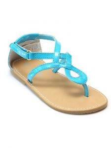 L'Amour Girls Blue Hook-And-Loop Strap Swirl Loop Thong Sandals 11-4 Kids