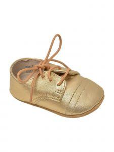 L'Amour Girls Gold Shimmery Lace-Up Closure Leather Crib Shoes 0 Baby-5 Toddler