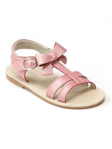 L'Amour Little Girls Guava T-Strap Open Toe Leather Sandals 5-10 Toddler