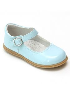 L'Amour Girls Patent Blue Scalloped Trim Mary Jane Shoes 4 Baby-10 Toddler