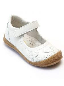 L'Amour Girls White Leather Hook-And-Loop Strap Mary Janes 4 Baby-10 Toddler