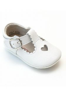 L'Amour Girls White Open Heart Leather Crib Mary Jane Shoes 0 Baby-5 Toddler