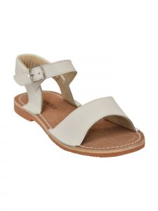 L'Amour Girls White Open Toe Concave Strap Leather Sandals 11-2 Kids
