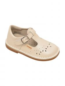 L'Amour Little Girls White Stitch Down Teardrop T-Strap Mary Janes 5 Toddler