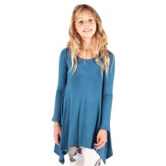 Lori&Jane Girls Blue Solid Color Long Sleeved Hanky Hem Tunic Dress 6-14