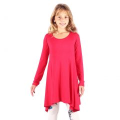 Lori&Jane Girls Coral Solid Color Long Sleeved Hanky Hem Tunic Dress 6-14