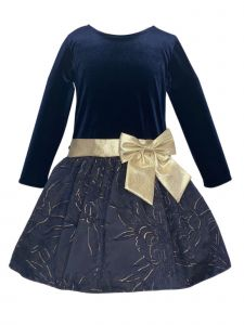 Lito Big Girls Navy Velvet Bodice Jacquard Skirt Bow Christmas Dress 7-10