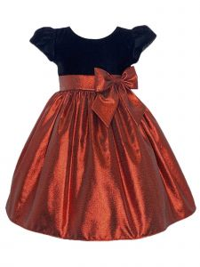 Lito Girls Multi Color Velvet Poly Metallic Skirt Bow Christmas Dress 2T-7