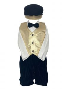 Lito Little Boys Gold Poly Metallic Vest Knicker Hat Christmas Outfit 2T-4