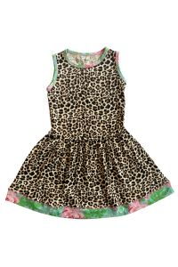 AnnLoren Big Girls Leopard Pink Rose Floral Trim Sleeveless Dress 7-12