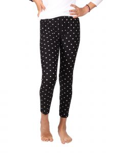 Lori Jane Big Girls Black White Polka Dot Stretchy Leggings 6-16