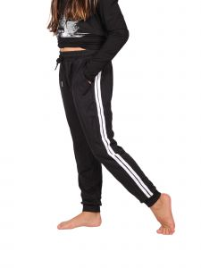 Lori Jane Big Girls Black White Side Stripe Adjustable Waist Joggers 6-12