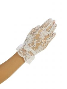 Girls Ivory Wrist Length Floral Lace Special Occasion Flower Girl Gloves 0-14