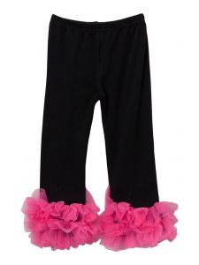 Wenchoice Girls Black Hot Pink Double Ruffle Ankle Trim Leggings 9M-8