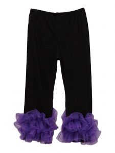 Wenchoice Girls Black Purple Double Ruffle Ankle Trim Trendy Leggings 9M-8