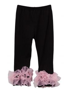 Wenchoice Girls Black Pink Double Ruffle Ankle Trim Trendy Leggings 9M-8