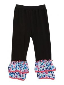 Wenchoice Girls Black Rainbow Polka Dot Ankle Ruffle Trim Leggings 9M-8