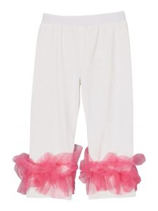 Wenchoice Girls Off-White Hot Pink Double Ruffle Ankle Trim Leggings 9M-8