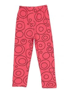 Wenchoice Girls Black Circle Print Hot Pink Ice Silk Casual Leggings 9M-8