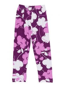 Wenchoice Girls Purple Flower Print Stretchy Ice Silk Leggings 9M-8
