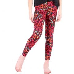 Lori&Jane Girls Red Geometric Vibrant Print Trendy Stretchy Leggings 4-12