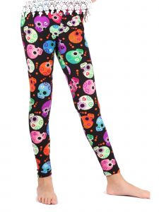 Lori Jane Little Girls Multi Color Skull Stretchy Leggings 4-5