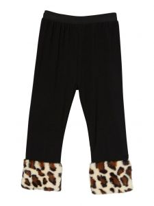 Wenchoice Girls Black Tan Brown Leopard Faux Fur Ankle Trim Leggings 9M-8