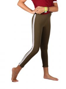 Lori Jane Little Girls Olive White Side Stripe Stretchy Leggings 4-5