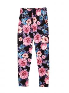 Lori Jane Little Girls Black Floral Print Stretchy Leggings 4-5