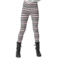 Lori&Jane Girls Blue Grey Aztec Inspired Print Stretchy Leggings 4-12