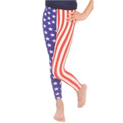 Lori&Jane Girls Blue Red White American Flag Inspired Stretchy Leggings 4-12