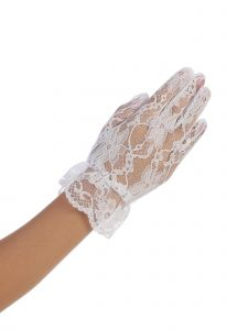 Girls White Wrist Length Floral Lace Special Occasion Flower Girl Gloves 0-14