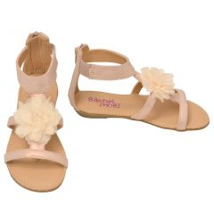 Rachel Girls Blush Flower Embellished Open Toe Stylish Sandals 11-4 Kids