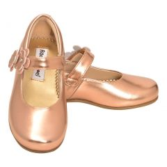 Rachel Shoes Little Girls Rose Gold Patent Flower Mary Jane Shoes 5-10 Toddler
