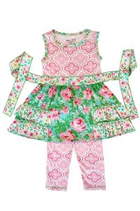 AnnLoren Big Girls Green Pink Floral Arabesque Dress Leggings Outfit 7-10