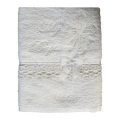 Lito Baby Unisex White Embroidered Cross Dove Lace Trims Christening Towel