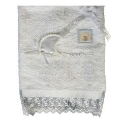Lito Baby Unisex White Cotton Embroidered Organza Trims Christening Towel