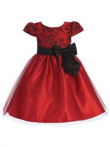 Lito Big Girls Red Black Jacquard Floral Tulle Bow Christmas Dress 7