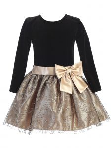 Lito Little Girls Black Velvet Long Sleeve Gold Sparkle Bow Christmas Dress 2T-6