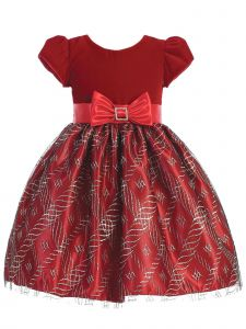 Lito Girls Velvet Sparkle Bow Short Sleeve Christmas Dress 2T-7