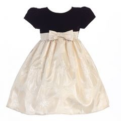 Lito Little Girls Brown Gold Velvet Metallic Jacquard Christmas Dress 2T-6