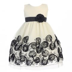 Lito Big Girls Black Satin Ribbon Roses Tulle Christmas Dress 7-12