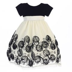 Lito Little Girls Black Velvet Satin Ribbon Roses Tulle Christmas Dress 2T-6