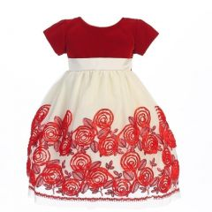 Lito Little Girls Red Velvet Satin Ribbon Roses Tulle Christmas Dress 2T-6